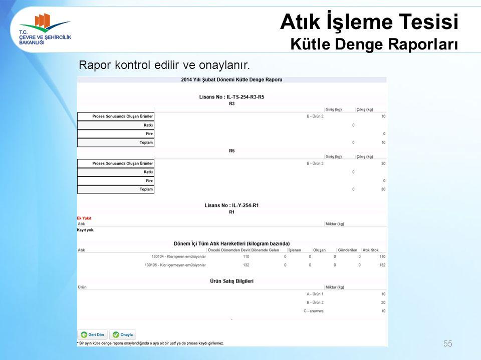 Atık İşleme Tesisi Kütle Denge Raporları Rapor kontrol edilir ve onaylanır. 55