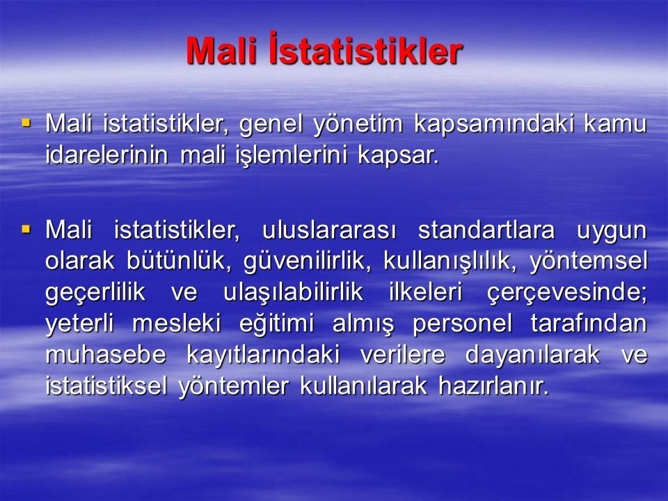Mali İstatistikler  Mali istatistikler, genel yönetim kapsamındaki kamu idarelerinin mali işlemlerini kapsar.