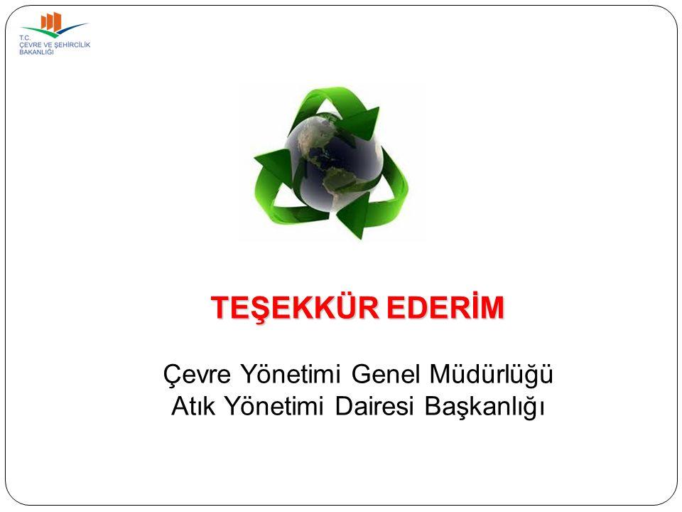 TEŞEKKÜR EDERİM Çevre Yönetimi Genel Müdürlüğü Atık Yönetimi Dairesi Başkanlığı