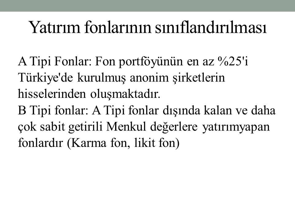 Yatırım fonlarının sınıflandırılması A Tipi Fonlar: Fon portföyünün en az %25'i Türkiye'de kurulmuş anonim şirketlerin hisselerinden oluşmaktadır. B T
