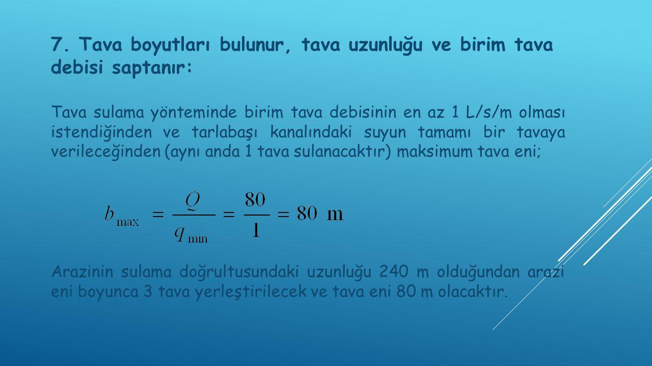 1. ALTERNATİF: Tava eni 80 m olsun ( b=80 m), arazi enine 3 tava yerleştirilsin. Birim tava debisi;