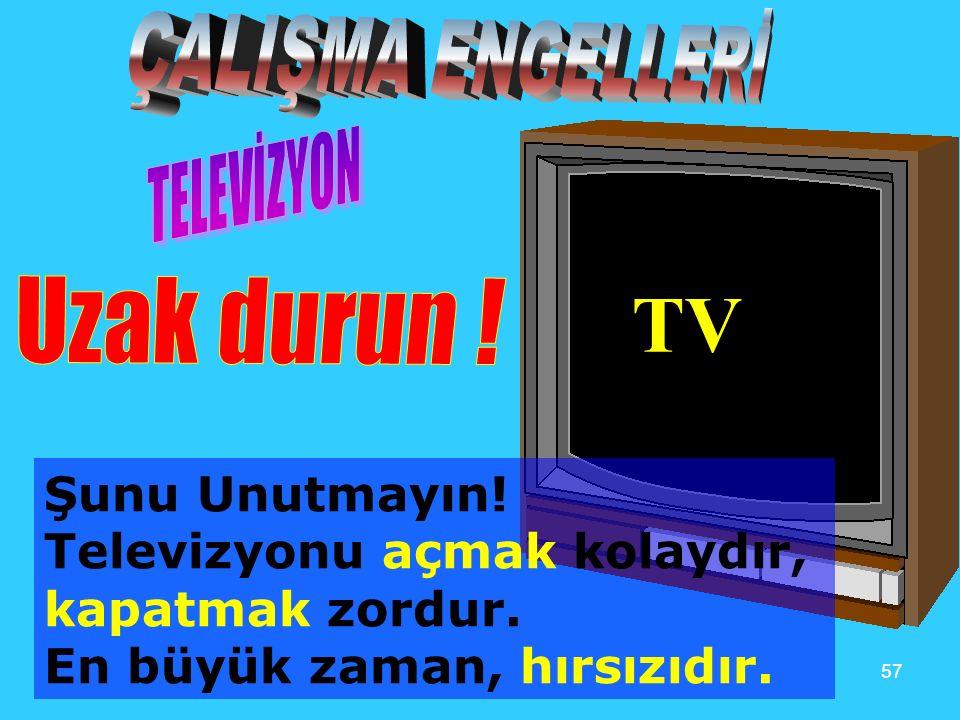 57 TV Şunu Unutmayın! Televizyonu açmak kolaydır, kapatmak zordur. En büyük zaman, hırsızıdır.