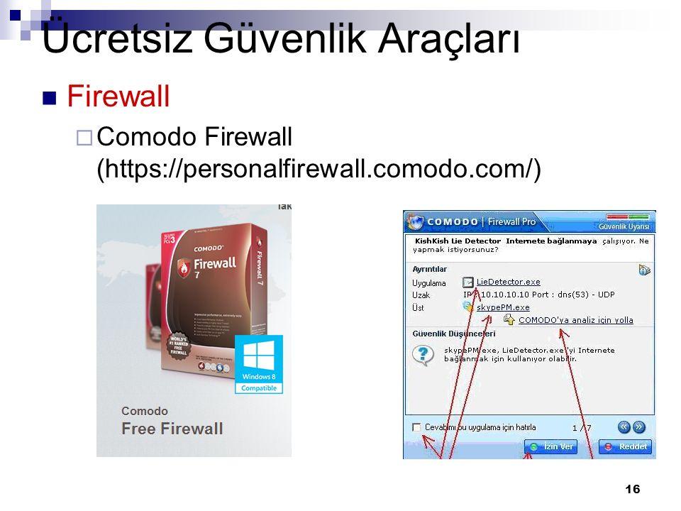 16 Ücretsiz Güvenlik Araçları Firewall  Comodo Firewall (https://personalfirewall.comodo.com/)