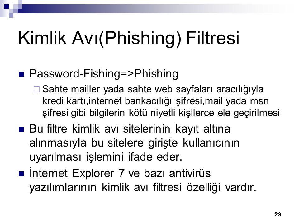 23 Kimlik Avı(Phishing) Filtresi Password-Fishing=>Phishing  Sahte mailler yada sahte web sayfaları aracılığıyla kredi kartı,internet bankacılığı şifresi,mail yada msn şifresi gibi bilgilerin kötü niyetli kişilerce ele geçirilmesi Bu filtre kimlik avı sitelerinin kayıt altına alınmasıyla bu sitelere girişte kullanıcının uyarılması işlemini ifade eder.