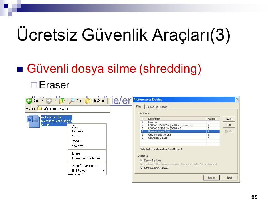 25 Ücretsiz Güvenlik Araçları(3) Güvenli dosya silme (shredding)  Eraser (http://www.heidi.ie/eraser/default.php)http://www.heidi.ie/eraser/default.p
