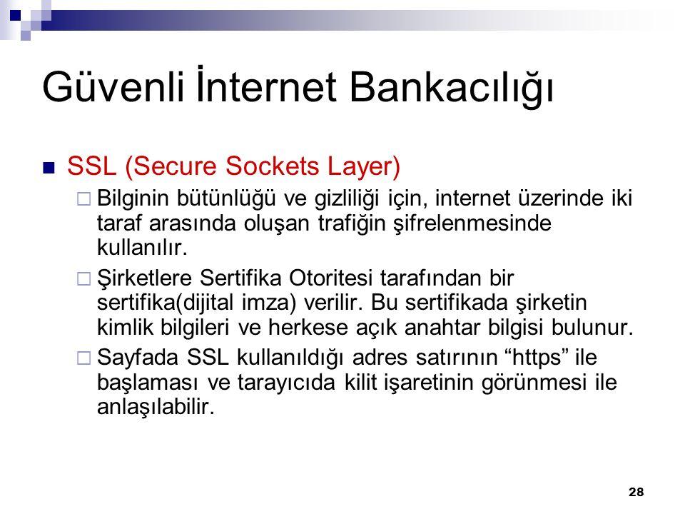 28 Güvenli İnternet Bankacılığı SSL (Secure Sockets Layer)  Bilginin bütünlüğü ve gizliliği için, internet üzerinde iki taraf arasında oluşan trafiğin şifrelenmesinde kullanılır.