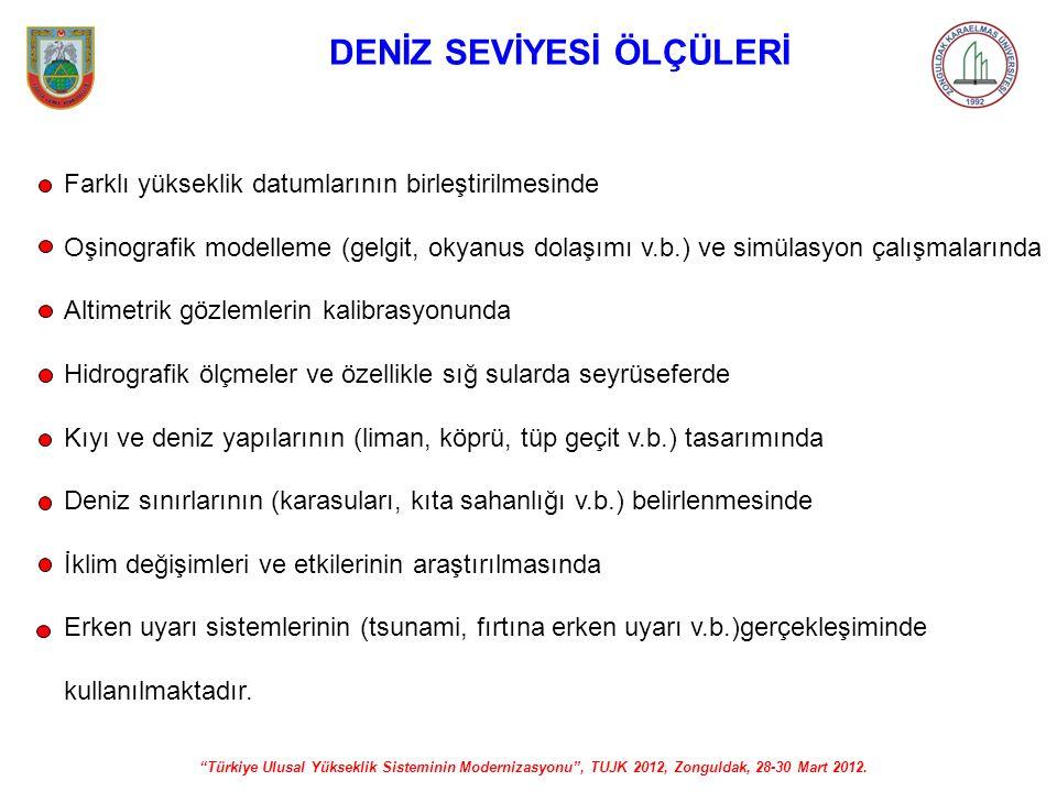 """""""Türkiye Ulusal Yükseklik Sisteminin Modernizasyonu"""", TUJK 2012, Zonguldak, 28-30 Mart 2012. DENİZ SEVİYESİ ÖLÇÜLERİ Farklı yükseklik datumlarının bir"""