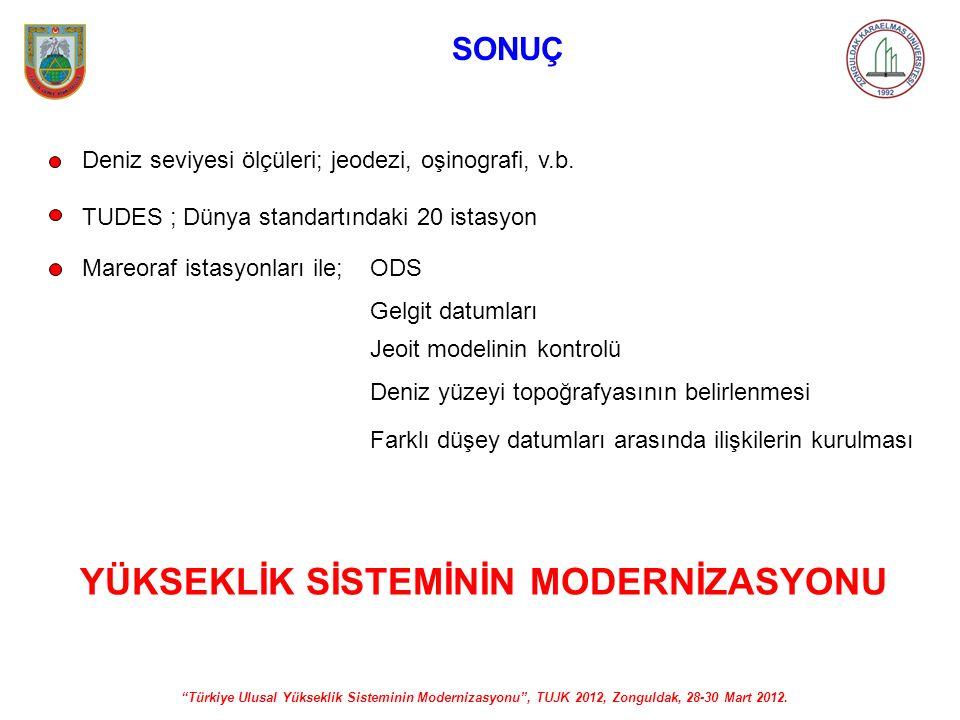"""""""Türkiye Ulusal Yükseklik Sisteminin Modernizasyonu"""", TUJK 2012, Zonguldak, 28-30 Mart 2012. SONUÇ Deniz seviyesi ölçüleri; jeodezi, oşinografi, v.b."""