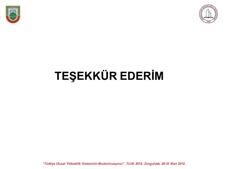 """""""Türkiye Ulusal Yükseklik Sisteminin Modernizasyonu"""", TUJK 2012, Zonguldak, 28-30 Mart 2012. TEŞEKKÜR EDERİM"""