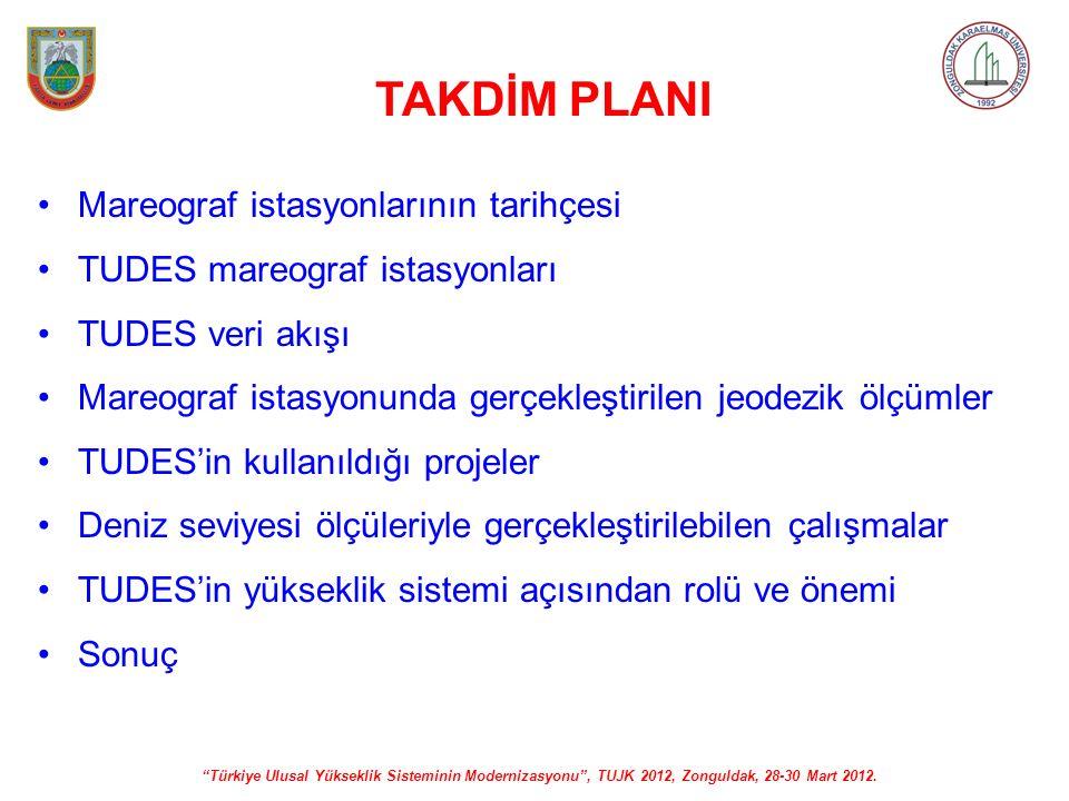 """""""Türkiye Ulusal Yükseklik Sisteminin Modernizasyonu"""", TUJK 2012, Zonguldak, 28-30 Mart 2012. TAKDİM PLANI Mareograf istasyonlarının tarihçesi TUDES ma"""