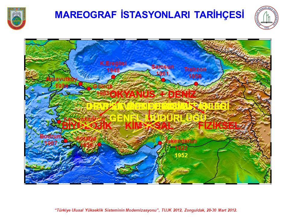 """""""Türkiye Ulusal Yükseklik Sisteminin Modernizasyonu"""", TUJK 2012, Zonguldak, 28-30 Mart 2012. MAREOGRAF İSTASYONLARI TARİHÇESİ İskenderun 1922 Arnavutk"""