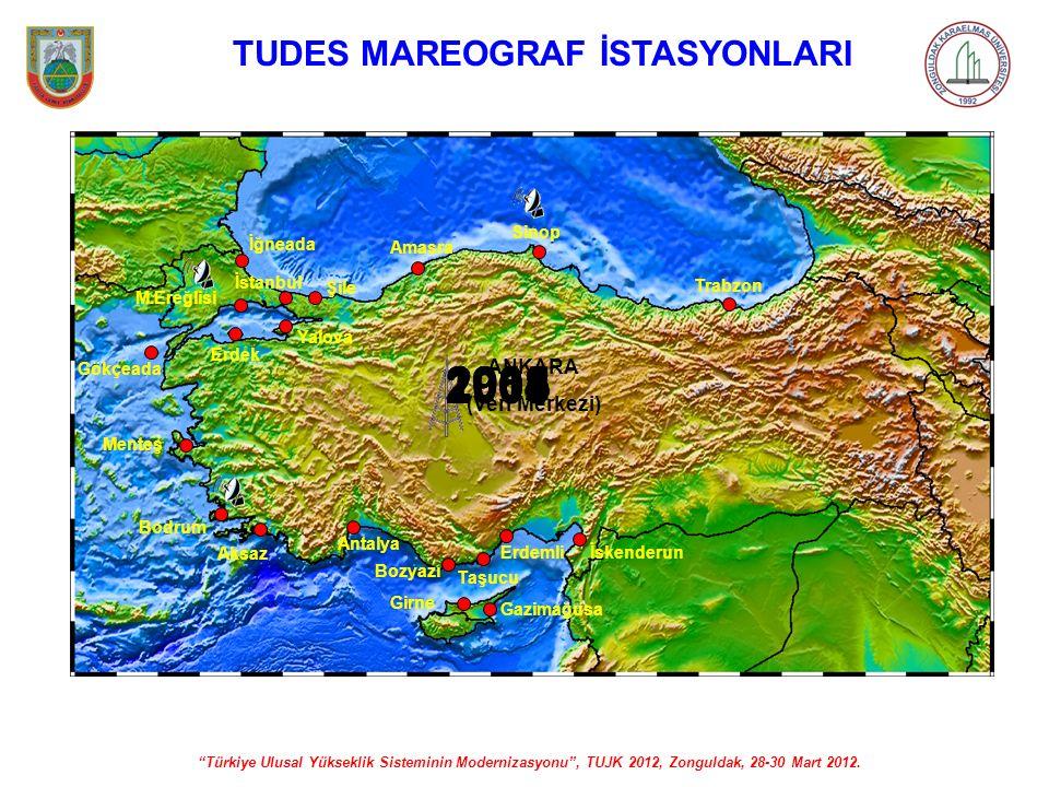 """""""Türkiye Ulusal Yükseklik Sisteminin Modernizasyonu"""", TUJK 2012, Zonguldak, 28-30 Mart 2012. TUDES MAREOGRAF İSTASYONLARI Bodrum Aksaz Antalya Bozyazı"""