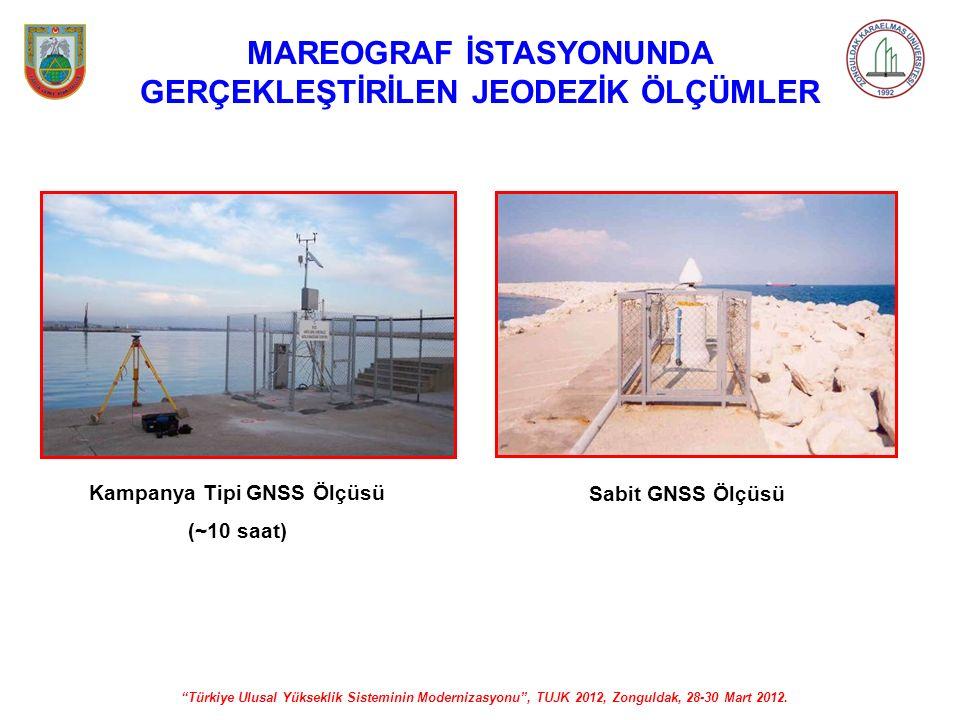 """""""Türkiye Ulusal Yükseklik Sisteminin Modernizasyonu"""", TUJK 2012, Zonguldak, 28-30 Mart 2012. MAREOGRAF İSTASYONUNDA GERÇEKLEŞTİRİLEN JEODEZİK ÖLÇÜMLER"""