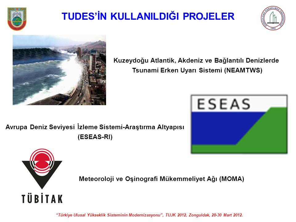 """""""Türkiye Ulusal Yükseklik Sisteminin Modernizasyonu"""", TUJK 2012, Zonguldak, 28-30 Mart 2012. TUDES'İN KULLANILDIĞI PROJELER Avrupa Deniz Seviyesi İzle"""