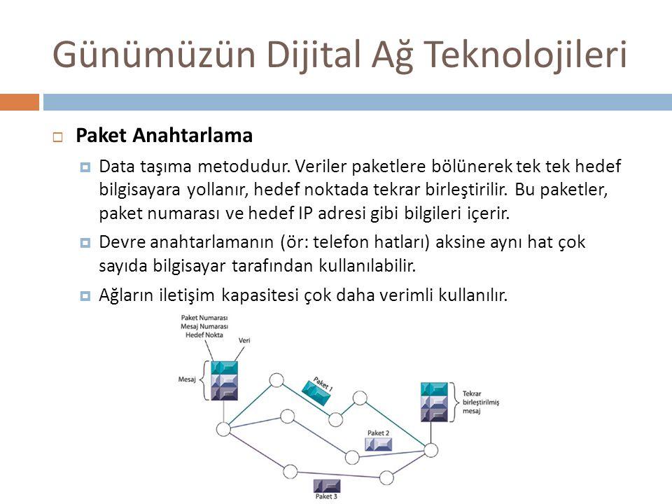 Günümüzün Dijital Ağ Teknolojileri  Paket Anahtarlama  Data taşıma metodudur. Veriler paketlere bölünerek tek tek hedef bilgisayara yollanır, hedef