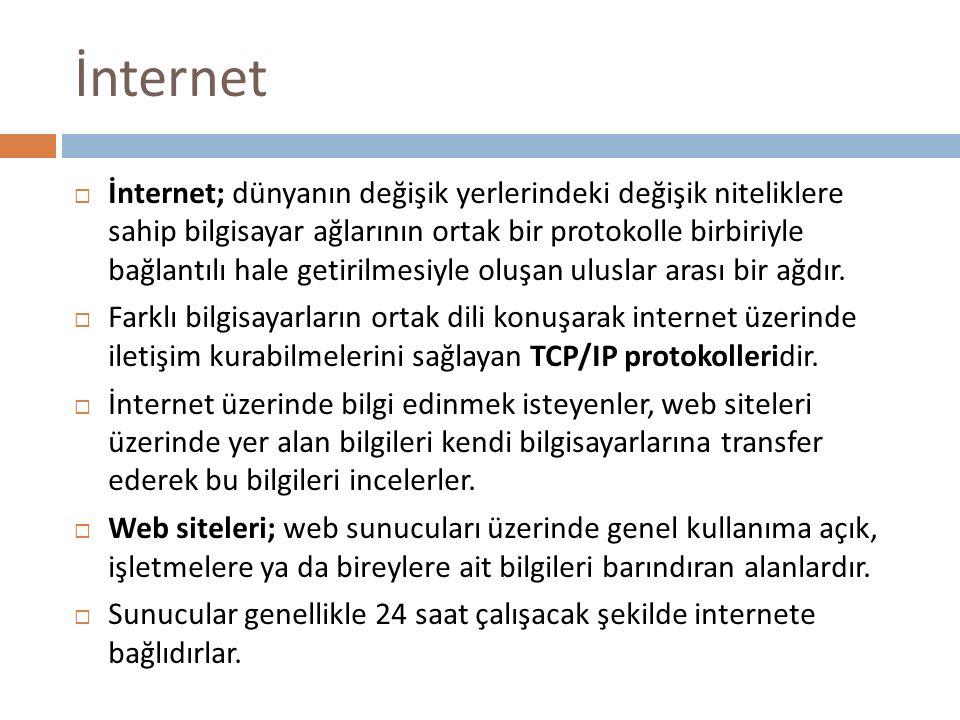 İnternet  İnternet; dünyanın değişik yerlerindeki değişik niteliklere sahip bilgisayar ağlarının ortak bir protokolle birbiriyle bağlantılı hale geti