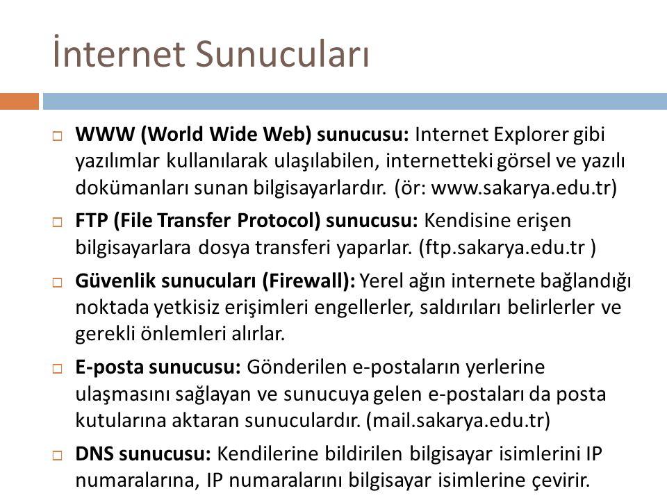 İnternet Sunucuları  WWW (World Wide Web) sunucusu: Internet Explorer gibi yazılımlar kullanılarak ulaşılabilen, internetteki görsel ve yazılı doküma