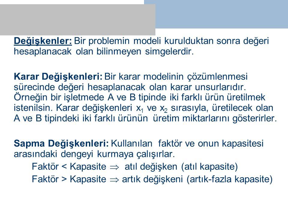 Değişkenler: Bir problemin modeli kurulduktan sonra değeri hesaplanacak olan bilinmeyen simgelerdir. Karar Değişkenleri: Bir karar modelinin çözümlenm