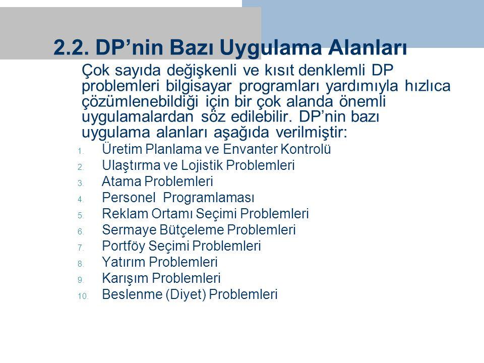 2.2. DP'nin Bazı Uygulama Alanları Çok sayıda değişkenli ve kısıt denklemli DP problemleri bilgisayar programları yardımıyla hızlıca çözümlenebildiği