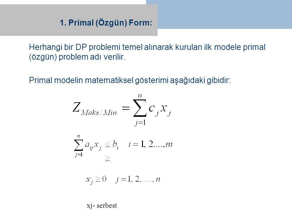 1. Primal (Özgün) Form: Herhangi bir DP problemi temel alınarak kurulan ilk modele primal (özgün) problem adı verilir. Primal modelin matematiksel gös