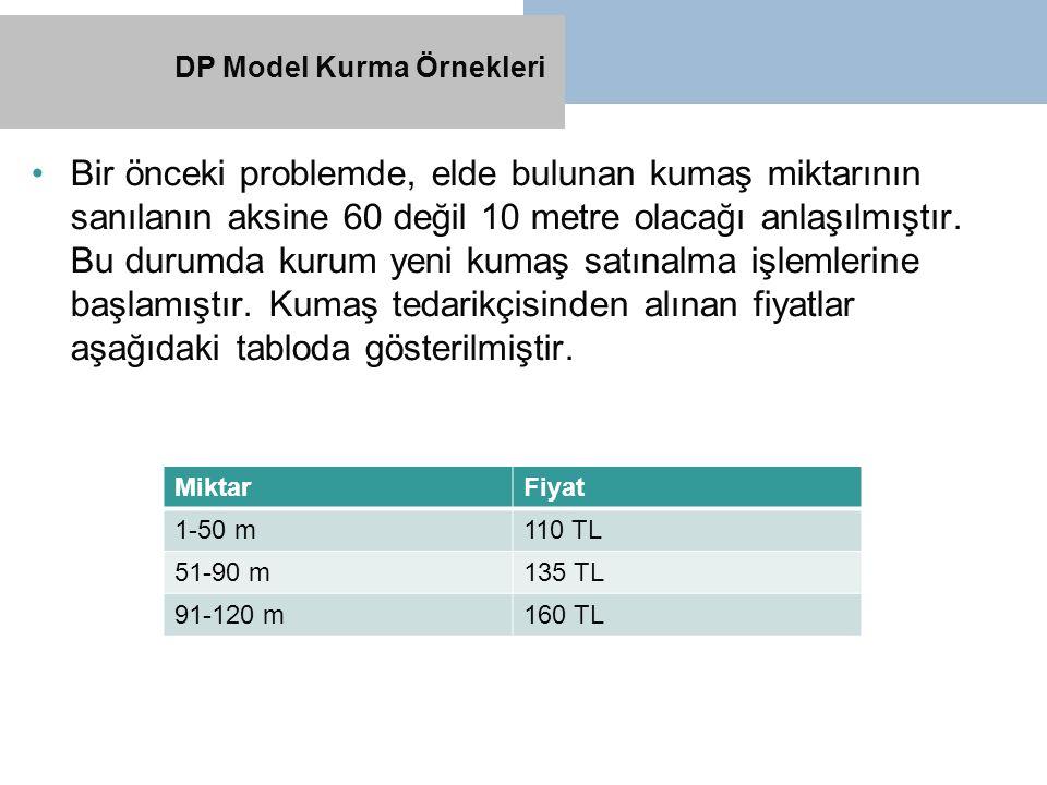 Bir önceki problemde, elde bulunan kumaş miktarının sanılanın aksine 60 değil 10 metre olacağı anlaşılmıştır. Bu durumda kurum yeni kumaş satınalma iş