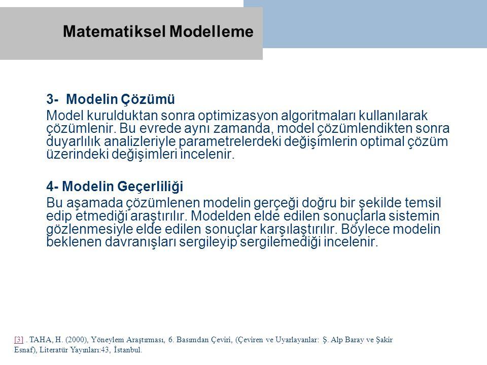 3- Modelin Çözümü Model kurulduktan sonra optimizasyon algoritmaları kullanılarak çözümlenir. Bu evrede aynı zamanda, model çözümlendikten sonra duyar