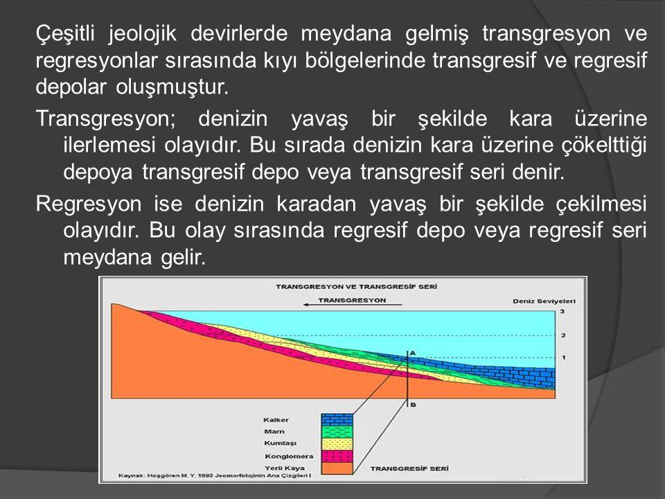 Çeşitli jeolojik devirlerde meydana gelmiş transgresyon ve regresyonlar sırasında kıyı bölgelerinde transgresif ve regresif depolar oluşmuştur. Transg