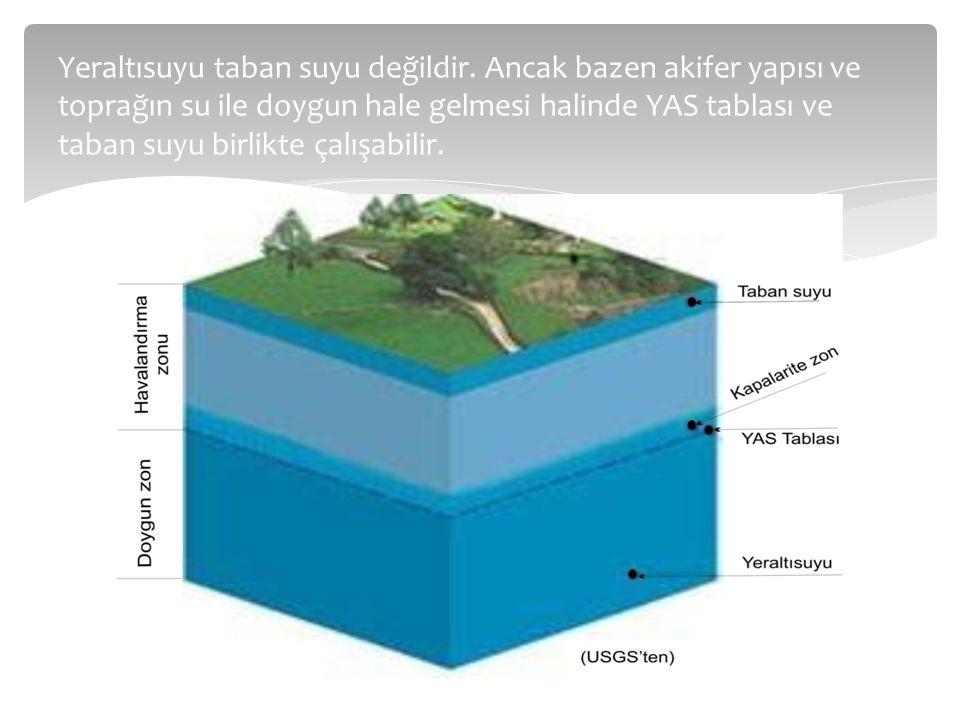 Yeraltısuyu taban suyu değildir. Ancak bazen akifer yapısı ve toprağın su ile doygun hale gelmesi halinde YAS tablası ve taban suyu birlikte çalışabil