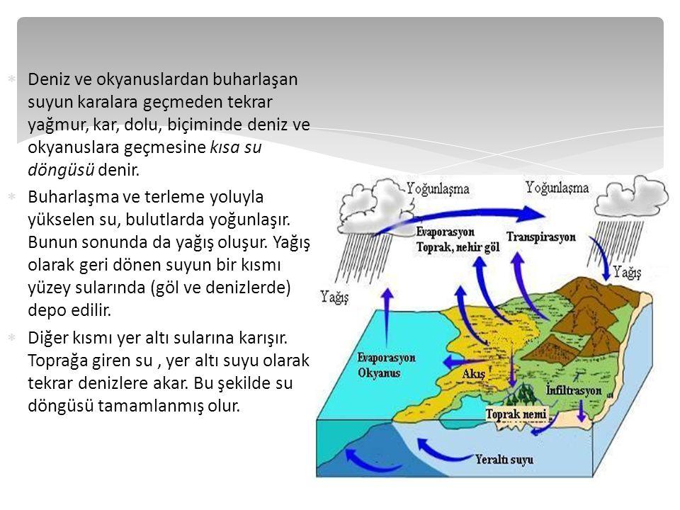  Deniz ve okyanuslardan buharlaşan suyun karalara geçmeden tekrar yağmur, kar, dolu, biçiminde deniz ve okyanuslara geçmesine kısa su döngüsü denir.