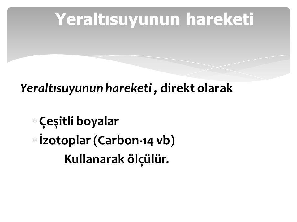 Yeraltısuyunun hareketi Yeraltısuyunun hareketi, direkt olarak  Çeşitli boyalar  İzotoplar (Carbon-14 vb) Kullanarak ölçülür.