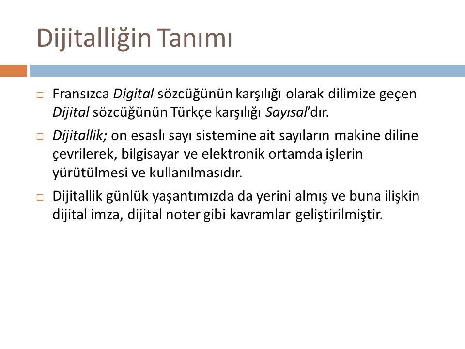 Dijitalliğin Tanımı  Fransızca Digital sözcüğünün karşılığı olarak dilimize geçen Dijital sözcüğünün Türkçe karşılığı Sayısal'dır.