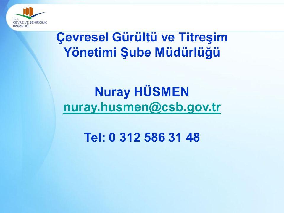 Çevresel Gürültü ve Titreşim Yönetimi Şube Müdürlüğü Nuray HÜSMEN nuray.husmen@csb.gov.tr Tel: 0 312 586 31 48