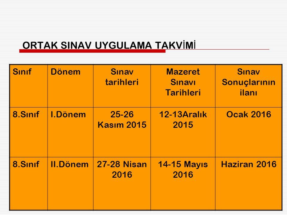 ORTAK SINAV UYGULAMA TAKV İ M İ SınıfDönemSınav tarihleri Mazeret Sınavı Tarihleri Sınav Sonuçlarının ilanı 8.SınıfI.Dönem25-26 Kasım 2015 12-13Aralık
