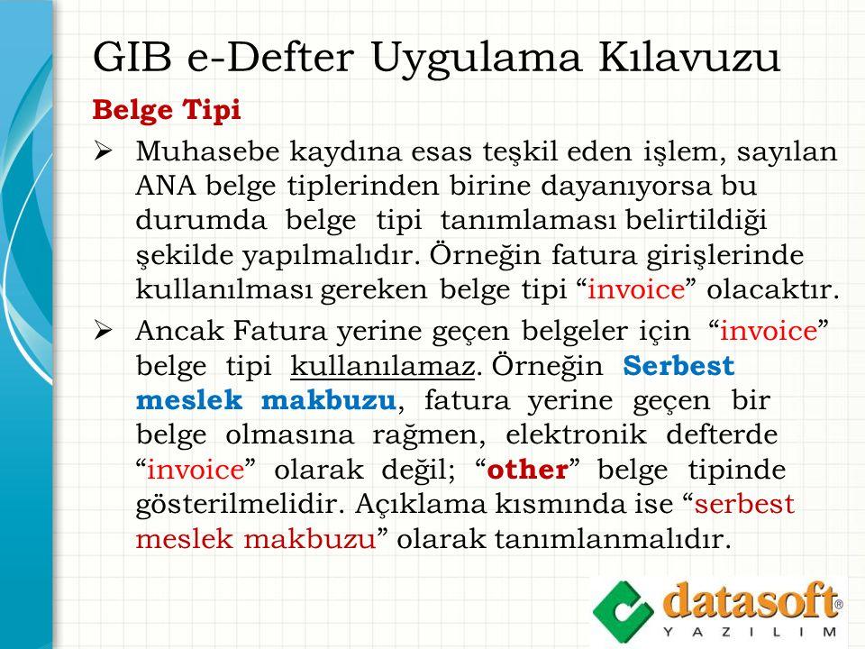 GIB e-Defter Uygulama Kılavuzu Belge Tipi  Muhasebe kaydına esas teşkil eden işlem, sayılan ANA belge tiplerinden birine dayanıyorsa bu durumda belge tipi tanımlaması belirtildiği şekilde yapılmalıdır.