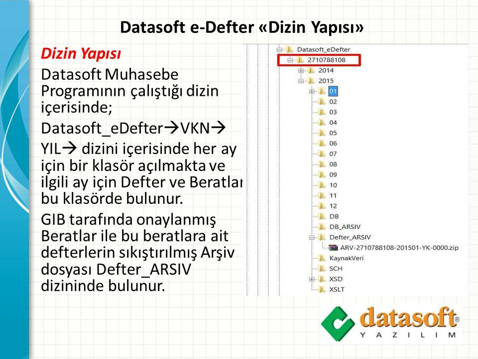 Datasoft e-Defter «Dizin Yapısı» Dizin Yapısı Datasoft Muhasebe Programının çalıştığı dizin içerisinde; Datasoft_eDefter  VKN  YIL  dizini içerisinde her ay için bir klasör açılmakta ve ilgili ay için Defter ve Beratlar bu klasörde bulunur.