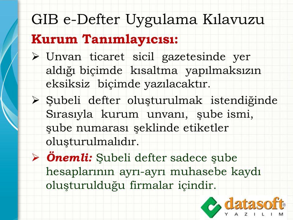 GIB e-Defter Uygulama Kılavuzu Kurum Tanımlayıcısı:  Unvan ticaret sicil gazetesinde yer aldığı biçimde kısaltma yapılmaksızın eksiksiz biçimde yazılacaktır.