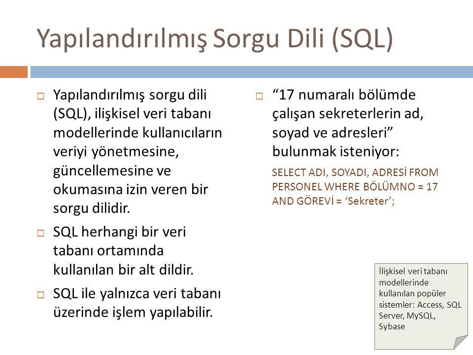 Yapılandırılmış Sorgu Dili (SQL)  Yapılandırılmış sorgu dili (SQL), ilişkisel veri tabanı modellerinde kullanıcıların veriyi yönetmesine, güncellemes