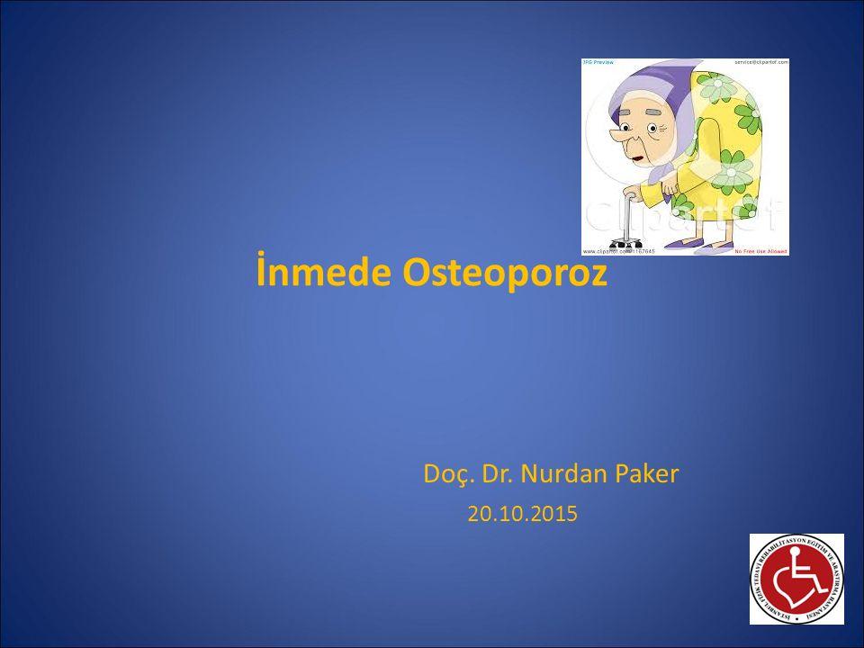İnmede görülen osteoporozda Bsp tedavisi Kronik hospitalize yaşlı inmelilerde; 2 yıl boyunca 2 hafta 400 mg Etidronat/13 hafta boş ile hemiplejik tarafta KMY de %1.4 ↑, kalça fx riskini ↓ İnmede 2 çalışmalık meta-analiz: Risedronat kalça KMY'sini ↑, fx riskini %75 ↓ Akut inmede IV Zoledronat 4 mg infüzyonu: Plejik femur KMY korunuyor Renal fonk ve hidrasyona dikkat edilmeli Sato Y, Beneficial effect of etidronate therapy in chronically hospitalized, disabled patients with stroke.