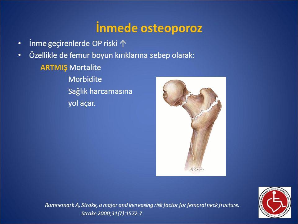 İnmede osteoporoz İnme geçirenlerde OP riski ↑ Özellikle de femur boyun kırıklarına sebep olarak: ARTMIŞ Mortalite Morbidite Sağlık harcamasına yol aç