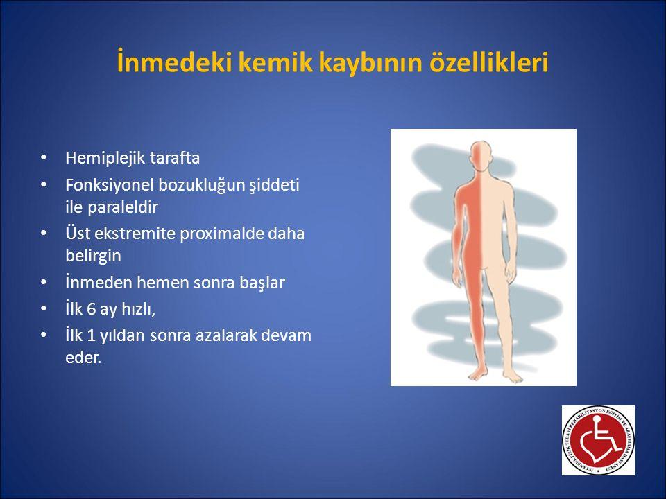 İnmedeki osteoporozun patogenezi Esas neden: Kullanmama Yaygın kemik kaybı: Yatak istirahatine bağlı olarak kemik rezorpsiyonu ↑ Lokal kemik kaybı: Hemiplejik tarafta azalmış mekanik uyarı (kemikteki yüklenmeyi sağlayan adale aktivitesi ve yer tepkime kuvveti ↓) Diğer nedenler: D vit eksikliği (güneşe çıkmama, alım yetersizliği, ciltte ↓ provit D3 yapımı): Warfarin ile antikoagülasyon