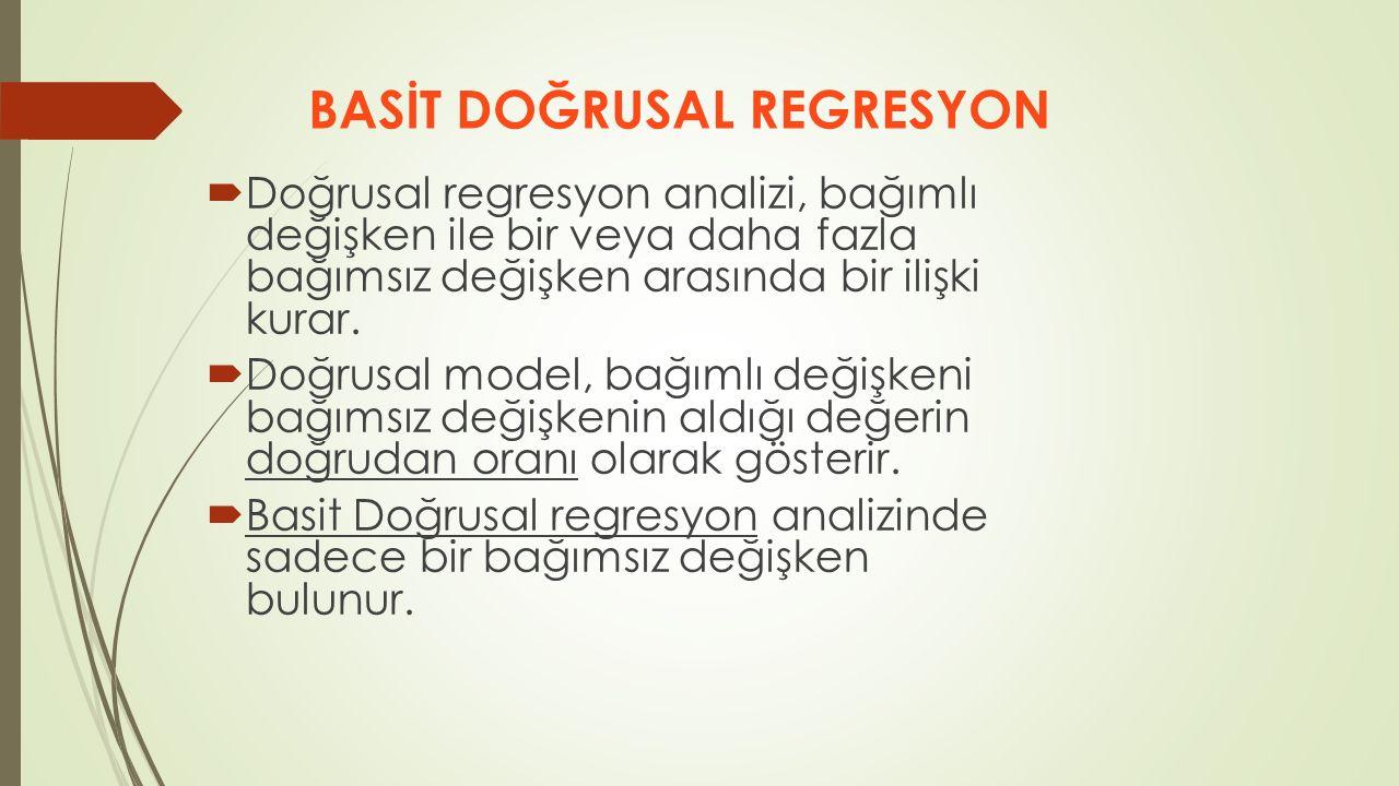  Doğrusal regresyon analizi, bağımlı değişken ile bir veya daha fazla bağımsız değişken arasında bir ilişki kurar.  Doğrusal model, bağımlı değişken