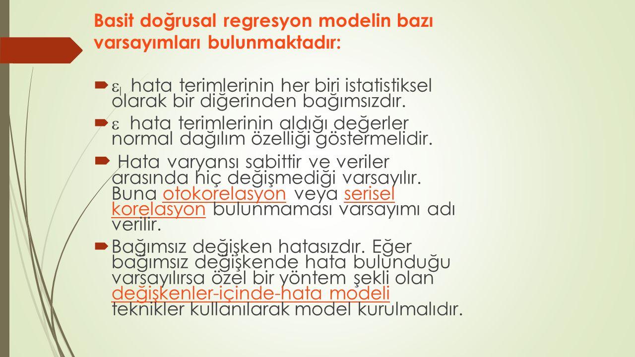 Basit doğrusal regresyon modelin bazı varsayımları bulunmaktadır:   I hata terimlerinin her biri istatistiksel olarak bir diğerinden bağımsızdır. 