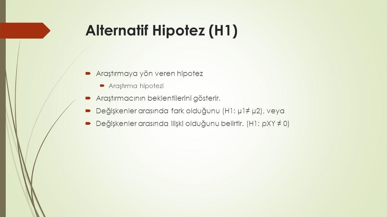Alternatif Hipotez (H1)  Araştırmaya yön veren hipotez  Araştırma hipotezi  Araştırmacının beklentilerini gösterir.  Değişkenler arasında fark old