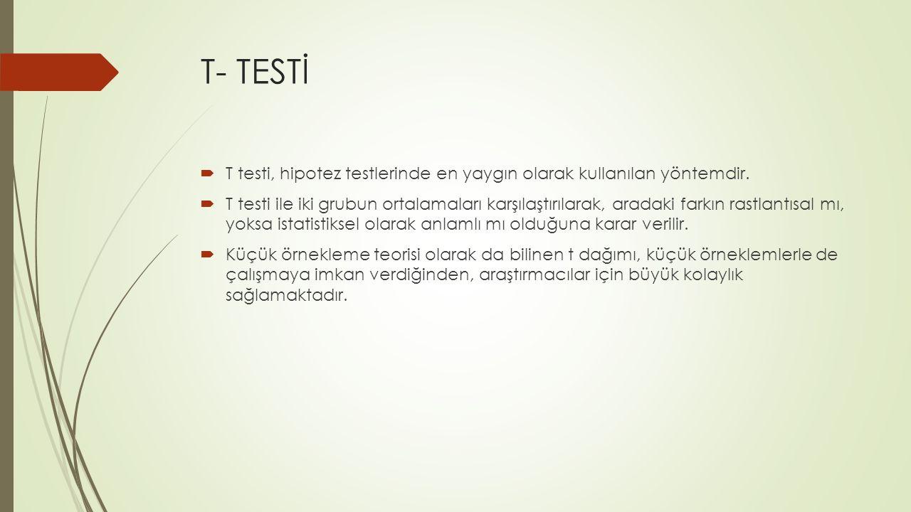 T- TESTİ  T testi, hipotez testlerinde en yaygın olarak kullanılan yöntemdir.  T testi ile iki grubun ortalamaları karşılaştırılarak, aradaki farkın