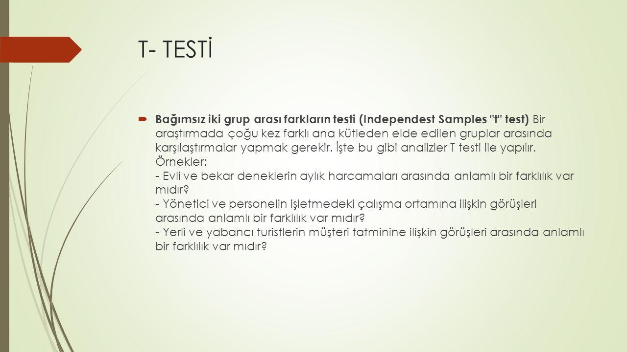 T- TESTİ  Bağımsız iki grup arası farkların testi (Independest Samples
