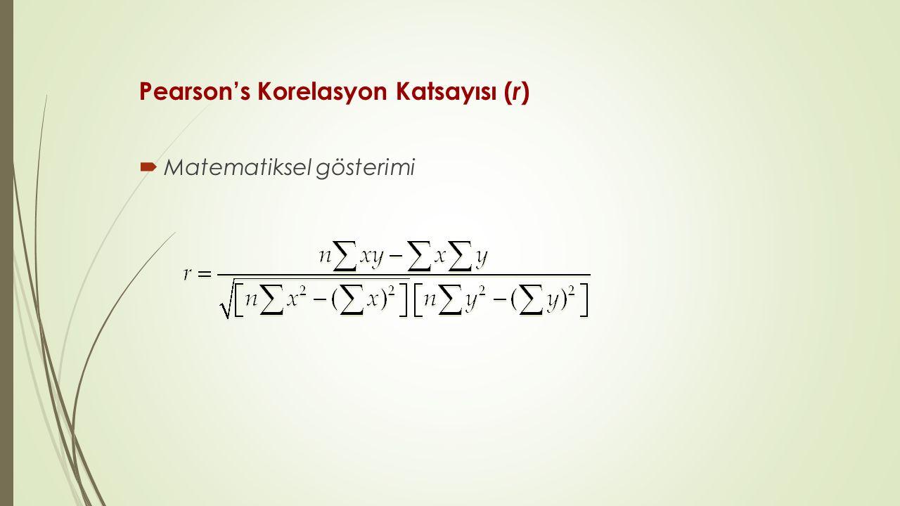 Pearson's Korelasyon Katsayısı ( r )  Matematiksel gösterimi