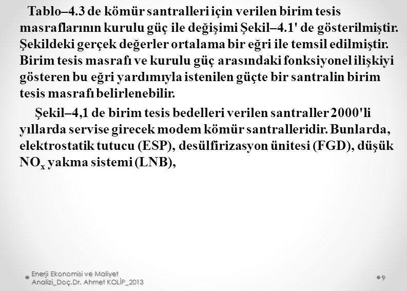 Verilenler: Santralin termik verimi n t =%33, şebeke yük faktörü L f = %70, kömürün alt ısıl değeri Hu=27.6 Gl/ton (6.6*106 kcal/ton) verilmiştir.