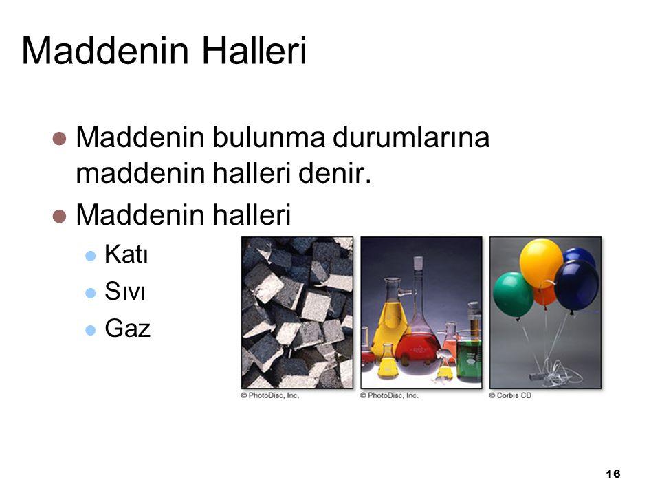 16 Maddenin Halleri Maddenin bulunma durumlarına maddenin halleri denir.