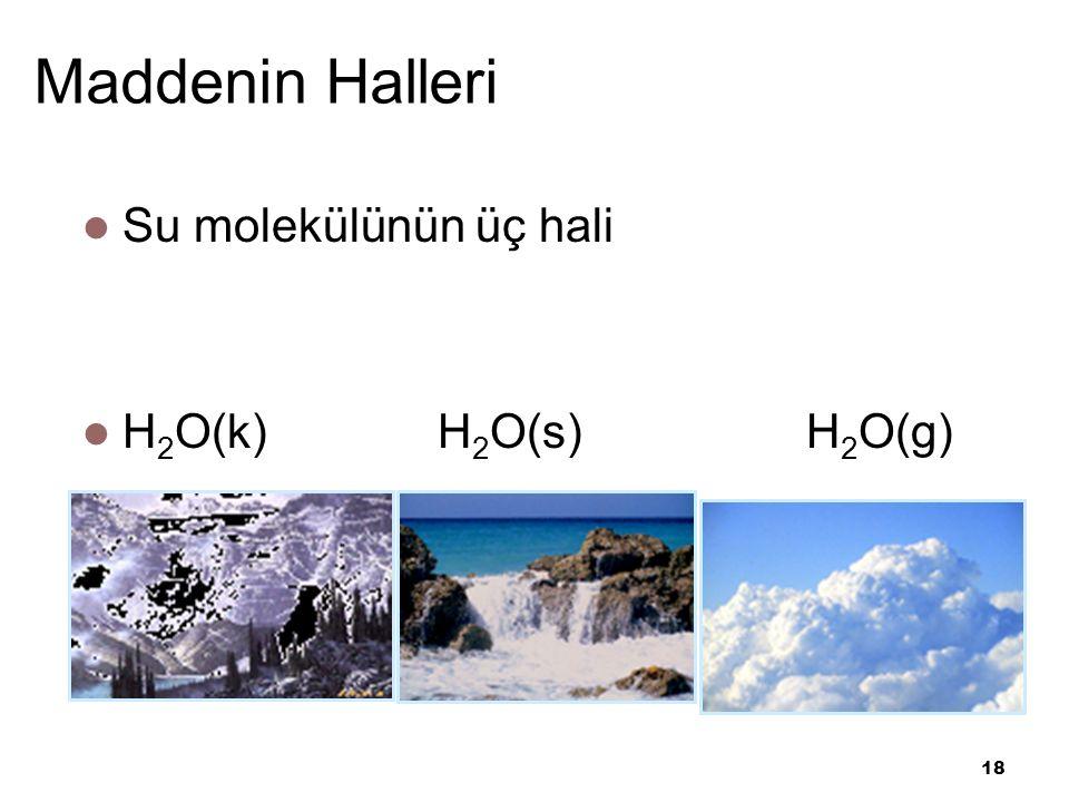 18 Maddenin Halleri Su molekülünün üç hali H 2 O(k) H 2 O(s) H 2 O(g)