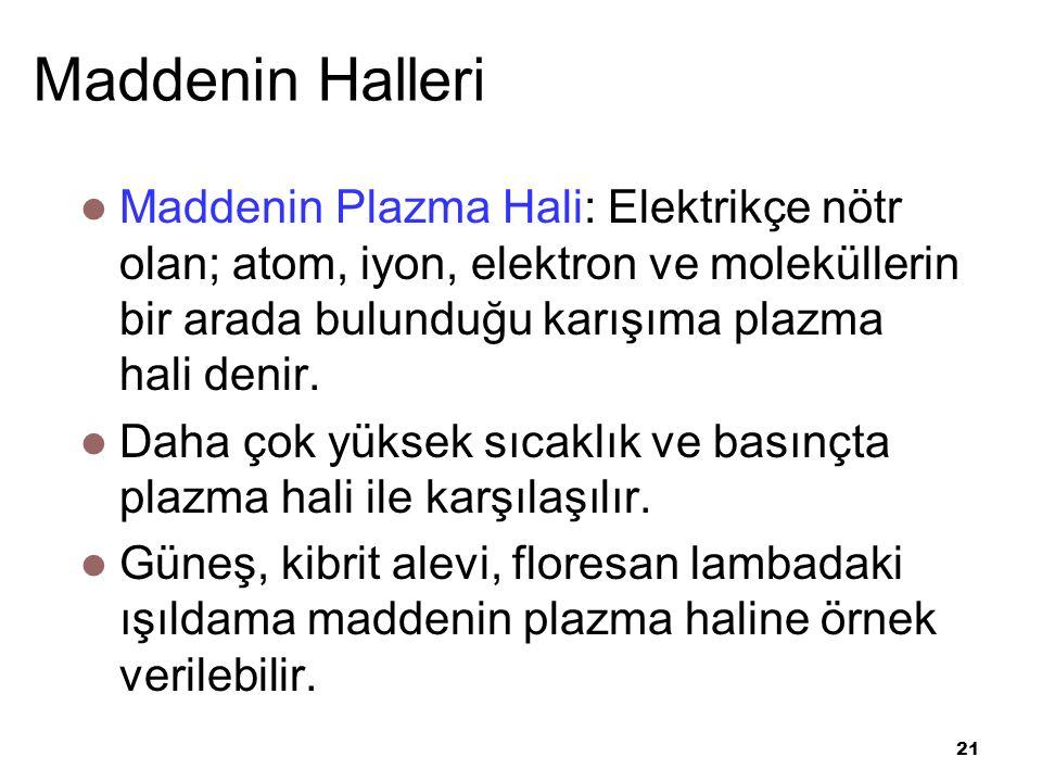 21 Maddenin Halleri Maddenin Plazma Hali: Elektrikçe nötr olan; atom, iyon, elektron ve moleküllerin bir arada bulunduğu karışıma plazma hali denir.